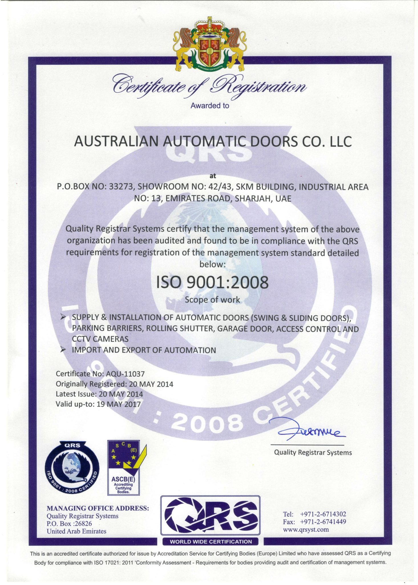 ISO Certificate 19-07-14